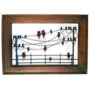 Quadro Artesanal Ferro Madeira Rústico Sala Pássaros Parede 1,00 x 0,70