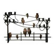 Painel para Sala de Estar Decorativo de Parede de Ferro Artesanal com Pássaros