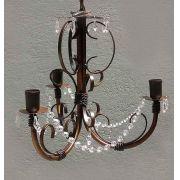 Pendente de Cristais e Ferro Decorativo para Iluminação de Quarto de Casal