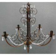 Pendente de Cristais e Ferro Moderno Decorativo para Sala Provençal