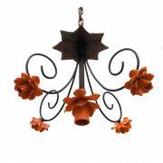 Pendente Luminária De Metal Com Flores Simples Para Iluminação de Banheiro