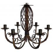 Lustre Provençal para Sala de Estar Artesanal Com 06 Bocas Rustico em Ferro. Arte em Ferro