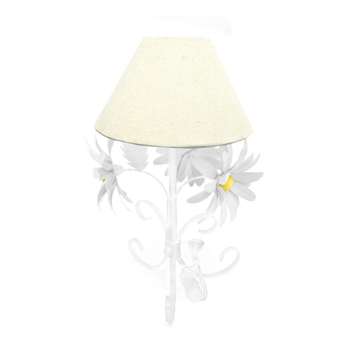 Abajur De Ferro E Lata Decorativo para Sala Com Flores Provençal