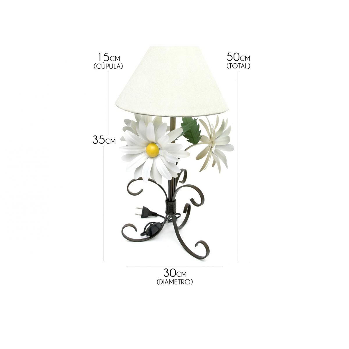 Abajur Artesanal em Ferro de Canto de Quarto com Flores e Cupula