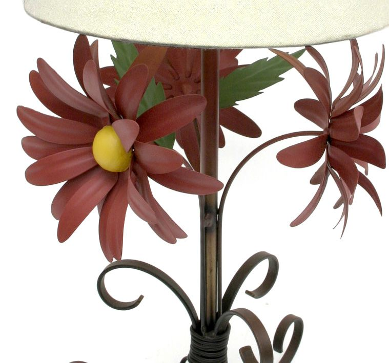Abajur Luminária Rústica De Ferro Decorativo Com Flores Artesanais
