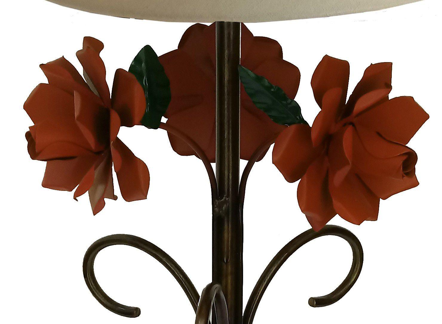 Abajur Rustico de Ferro Quarto e Sala com Flores Artesanal Fabricante