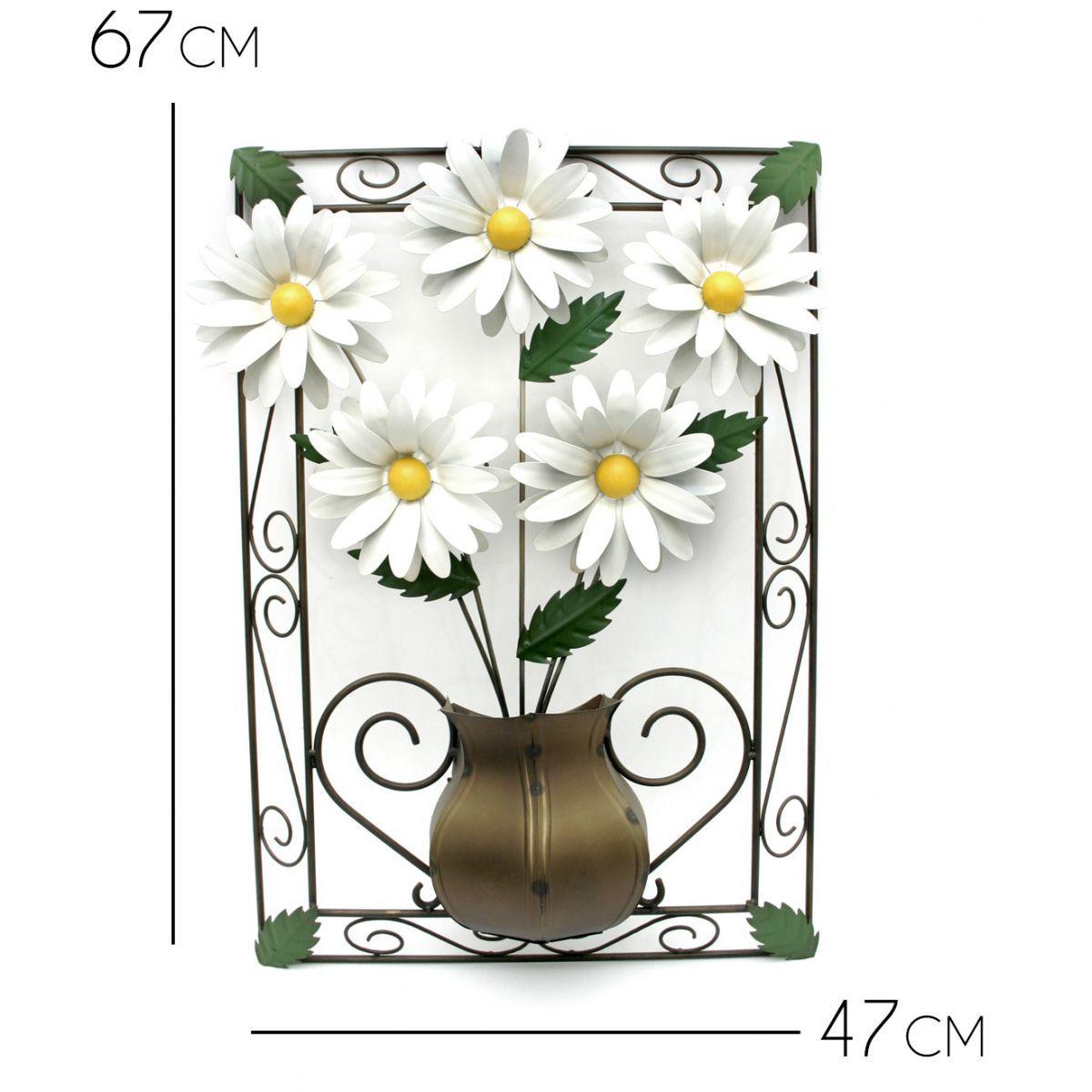 Quadro Decorativo Artesanal em Ferro com Flores para Parede de Quarto