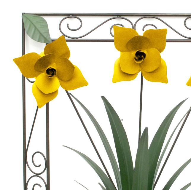Quadro de Ferro Artesanal para Sala e Varanda Decoração com Flores e Folhas