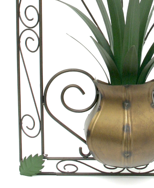 Quadro em Ferro para Parede com Moldura e Flores Decorativo para Quarto