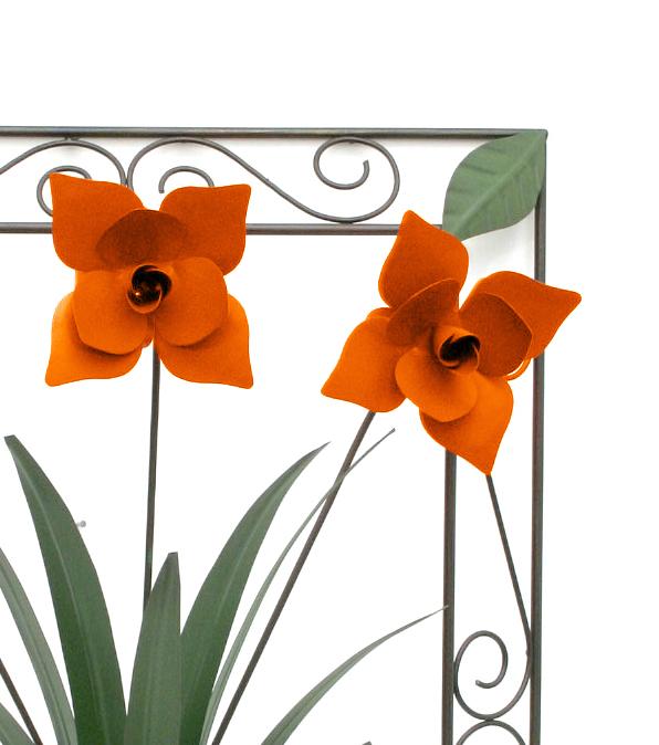 Quadro com Flores para Sala de Jantar e Folhas de Ferro Rustico