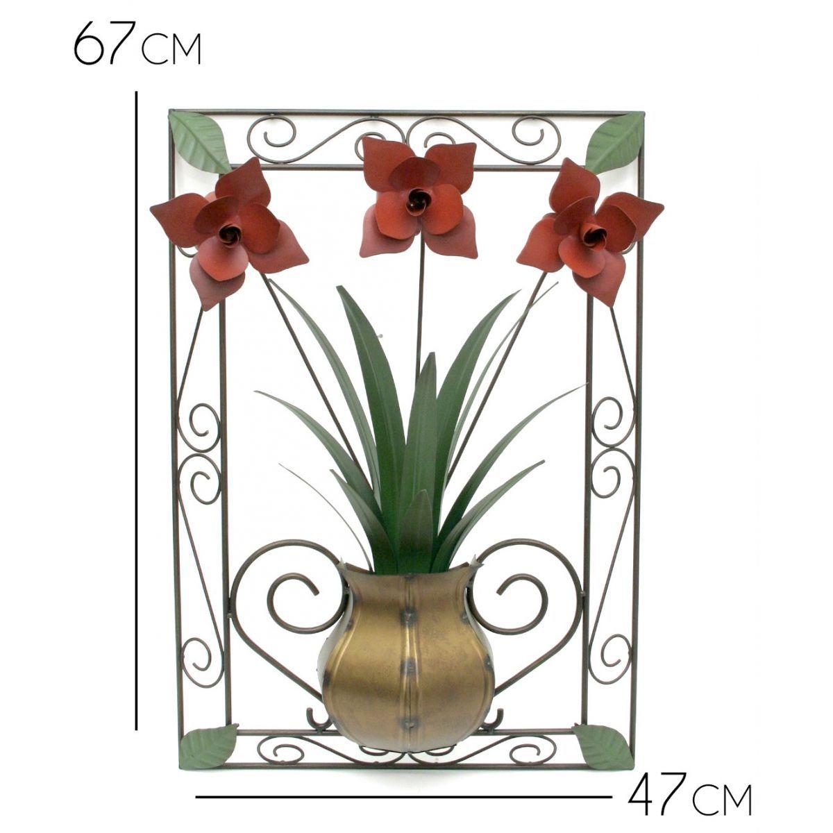 Quadro Decorativo Painel Rústico de Flores e Folhas em Ferro Clássico