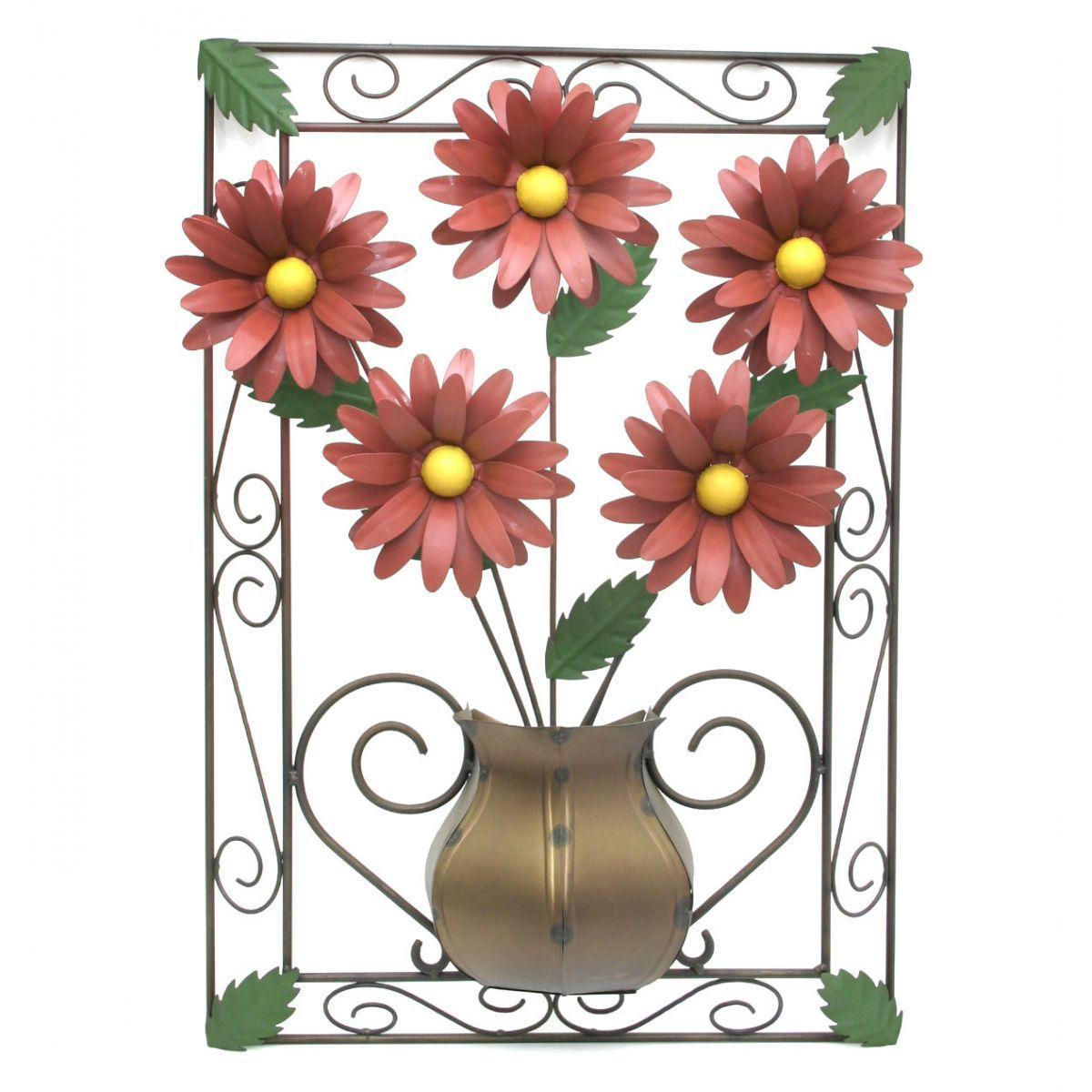 Quadro para Sala de Estar Artesanal Rustico com Flores de Ferro
