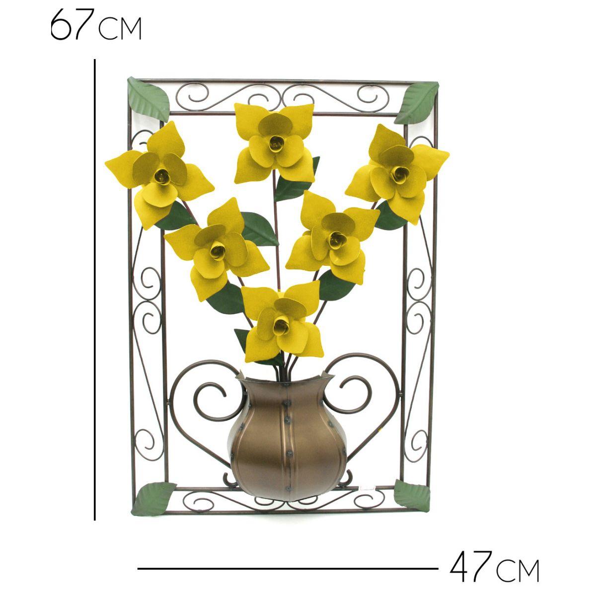 Quadro para Sala de Ferro Artesanal para Parede Decoração com Flores