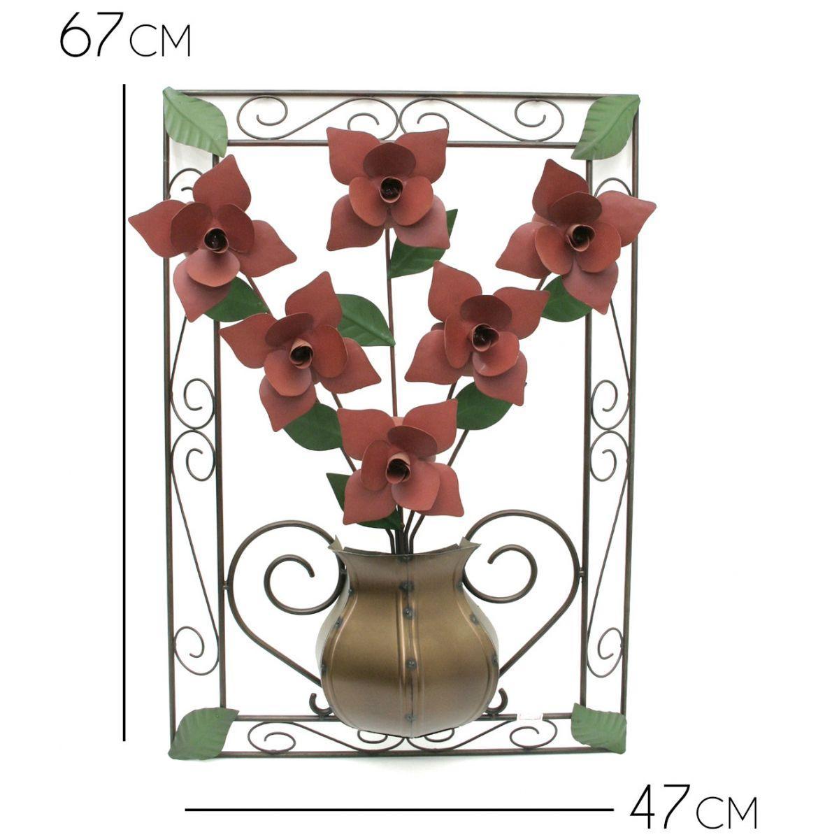 Quadro Decorativo de Ferro Rustico com Flores para Sala de Jantar