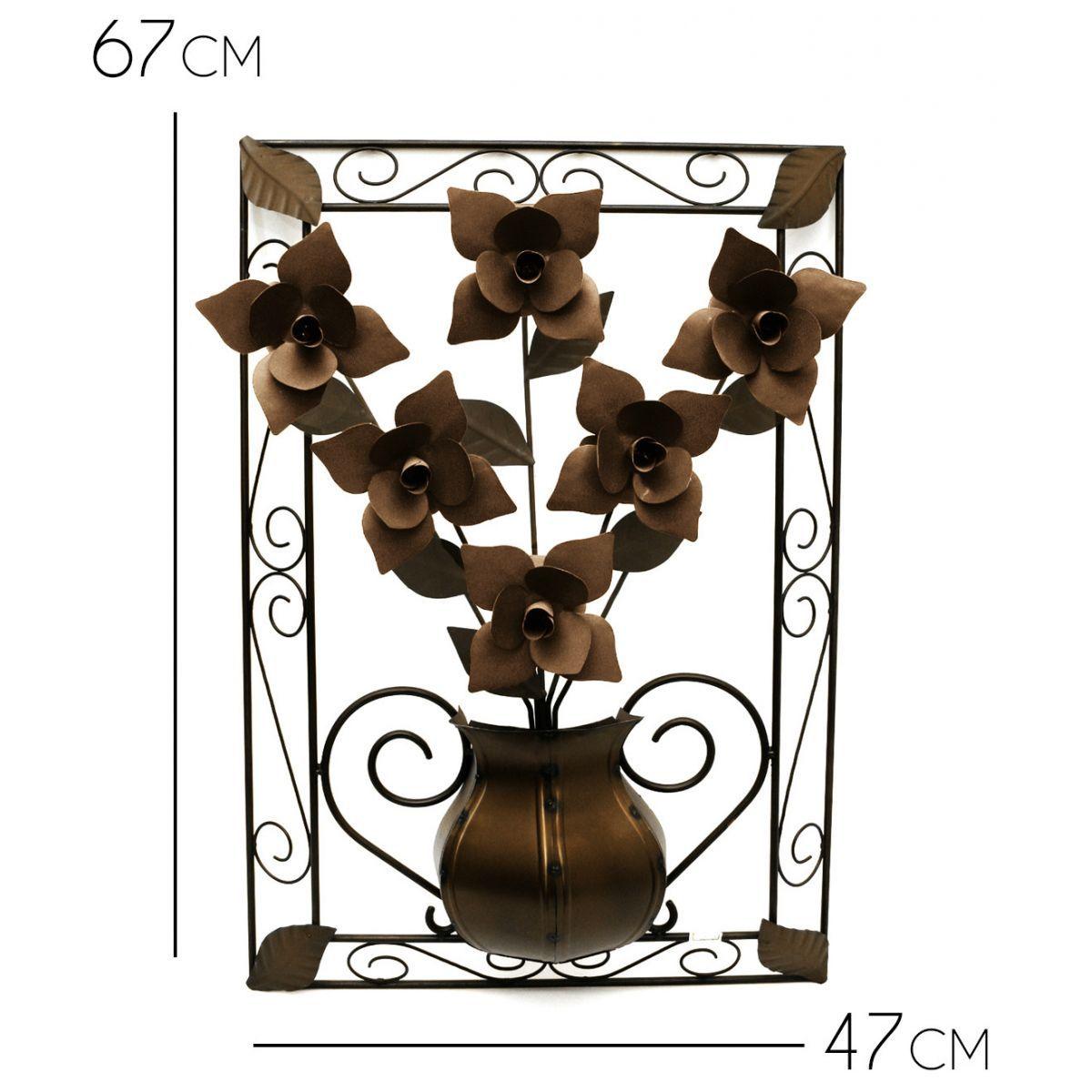 Quadro para Sala com Flores de Ferro Artesanal Rustico com Flores