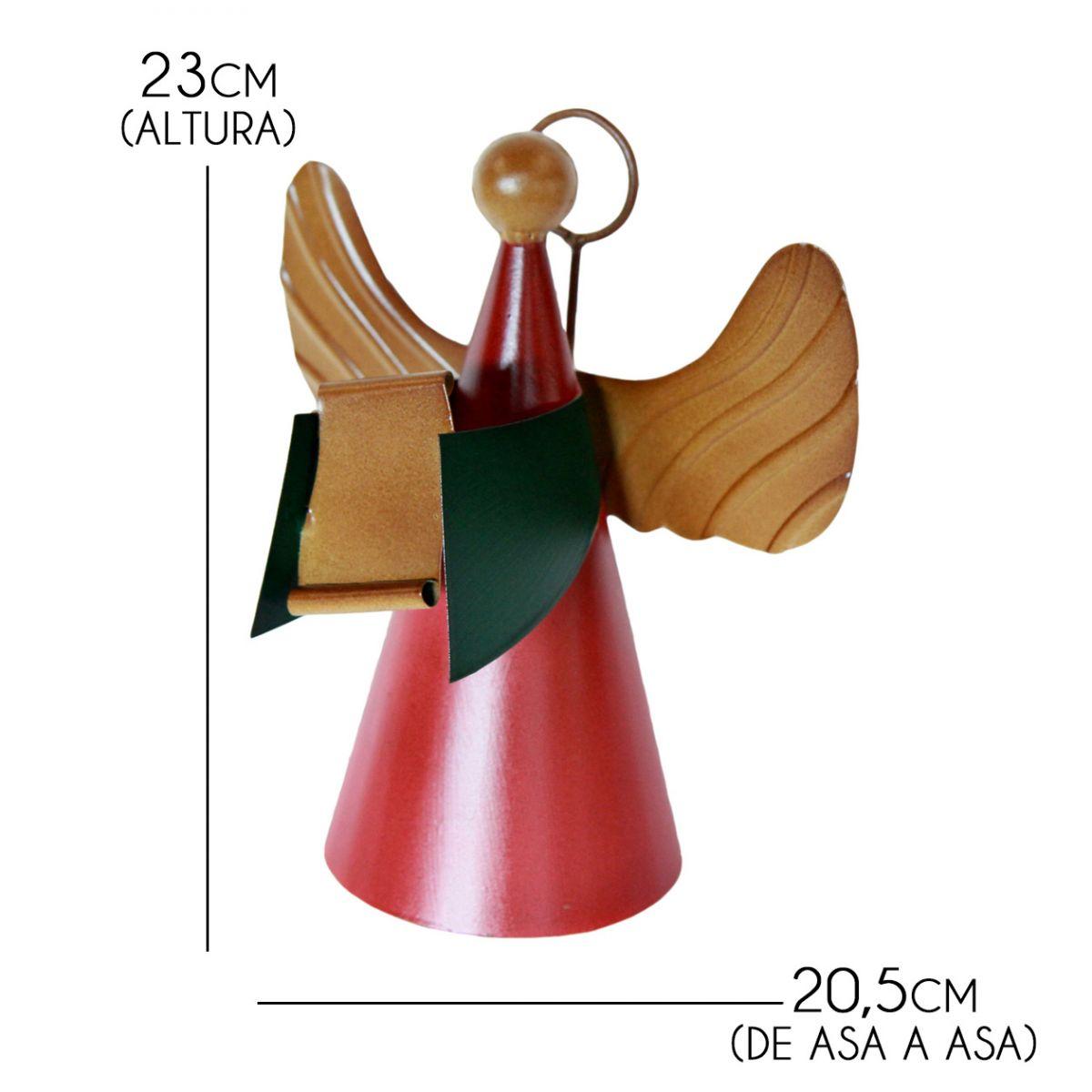 Anjo Decorativo de Natal de Ferro Artesanal para Enfeite Natalino