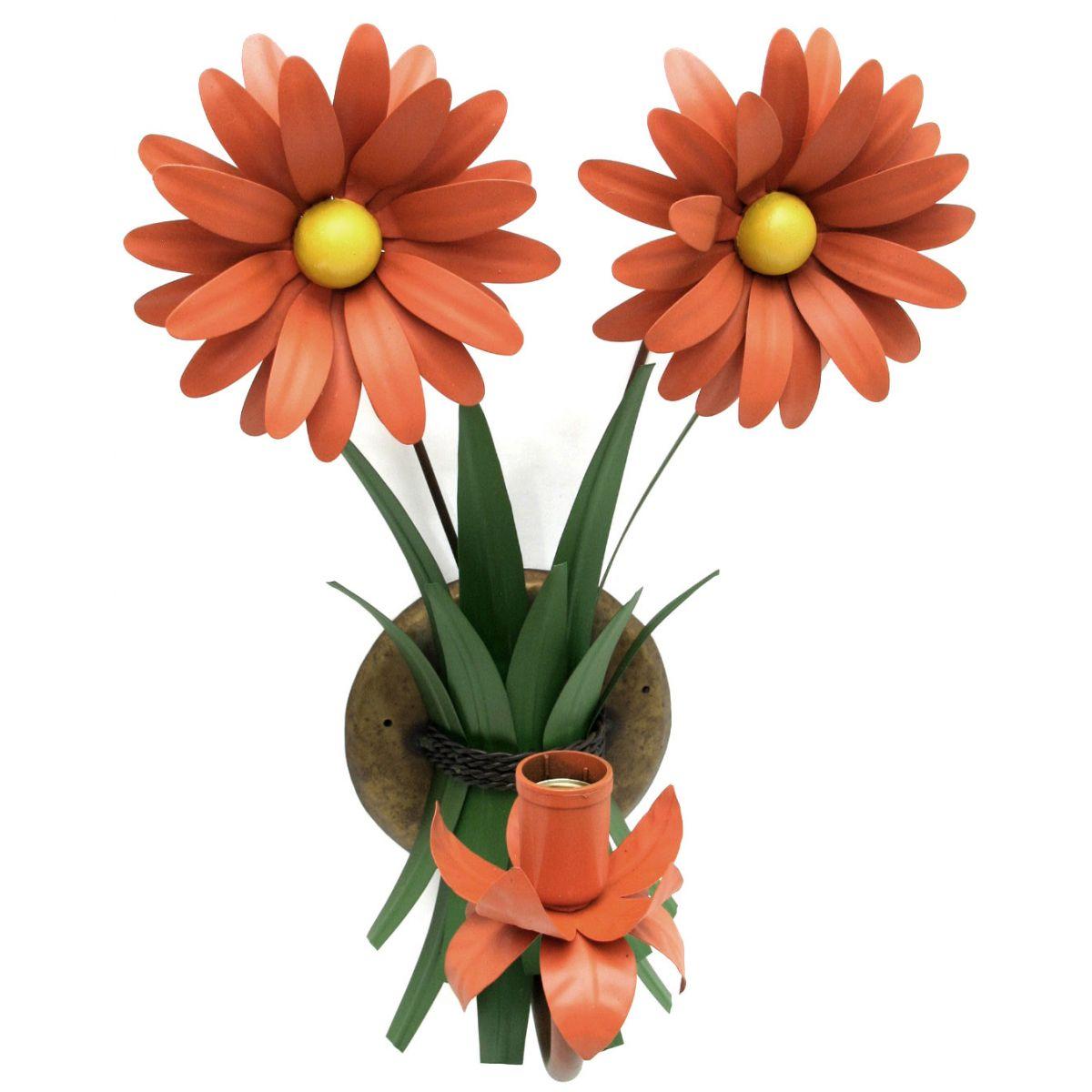 Arandela De Parede Ferro Artesanal Rústica Varanda Externa com Flor