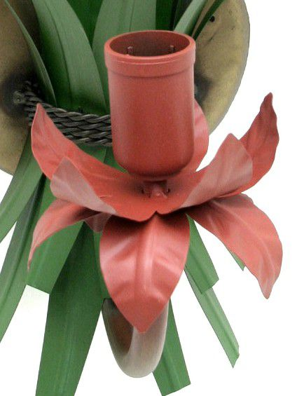 Arandela Luminária Rústica de Parede Com Flores de Ferro Artesanal