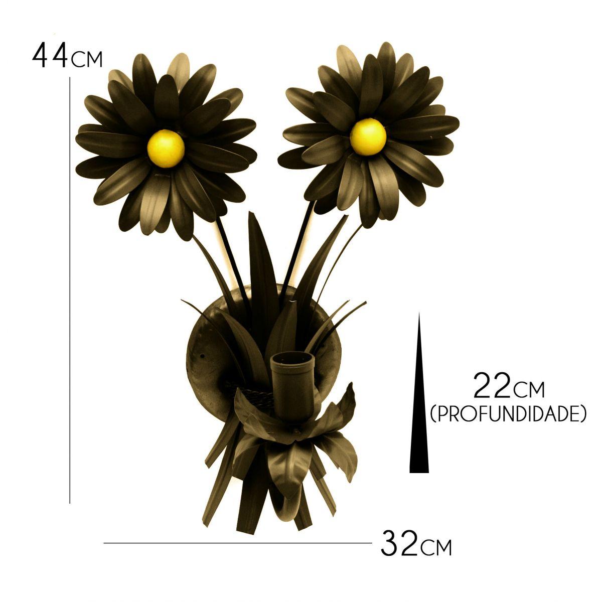 Luminaria Arandela Artesanal para Quarto de Ferro Para Parede com Flor Rustica