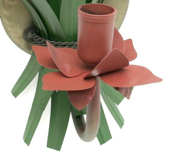 Arandela de Parede Artesanal para Quarto com Flores de Ferro Rustica