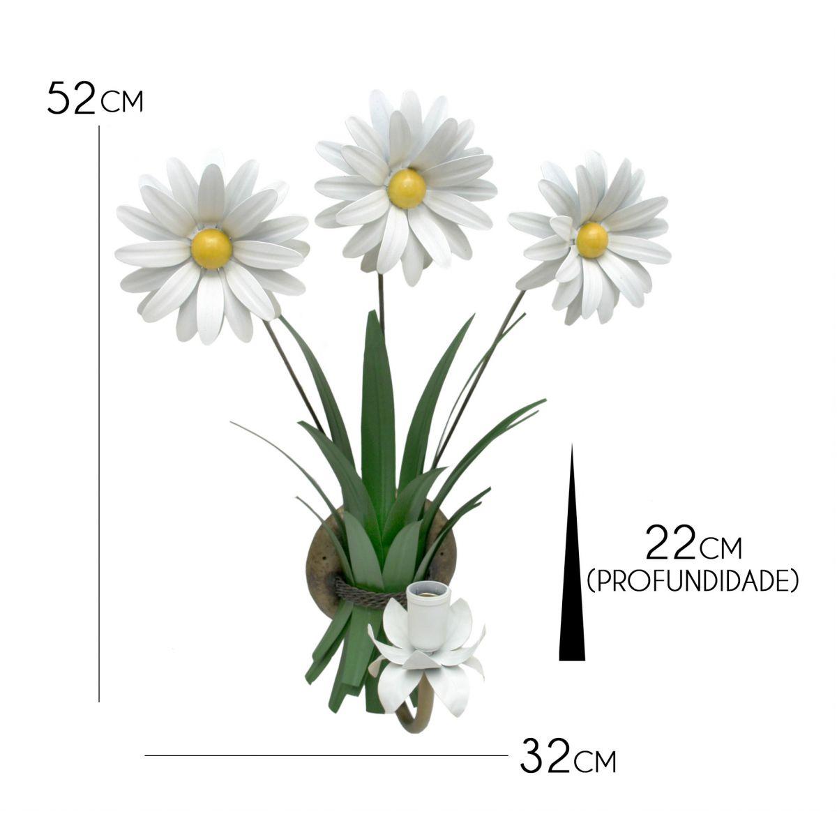 Arandela Artesanal De Ferro Rústica para Sala e Quarto de Parede com Flor