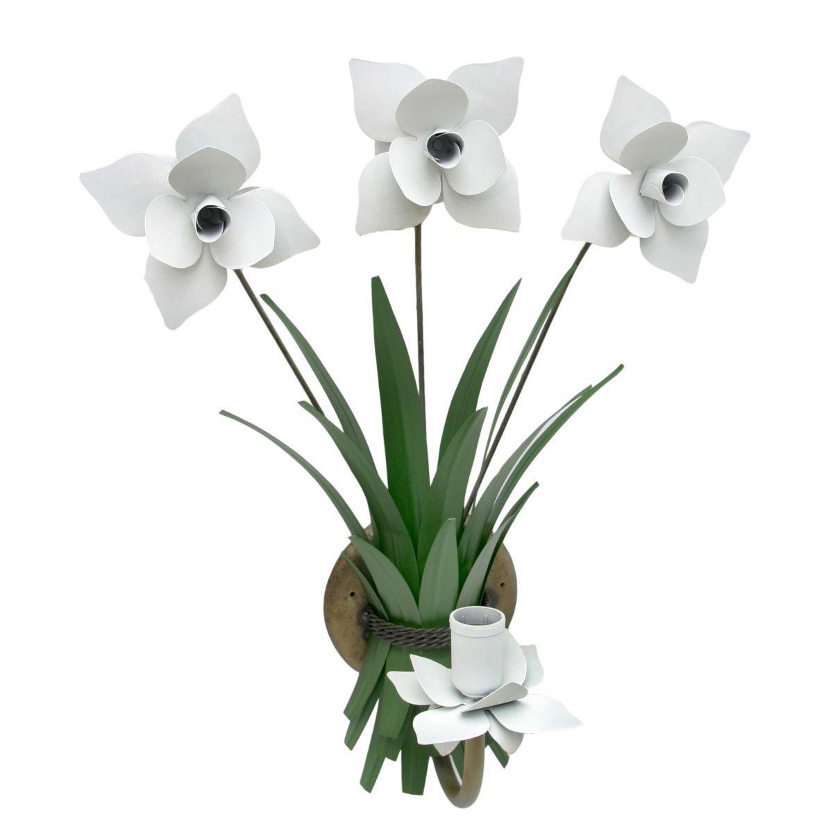 Luminária De Parede para Sala de Jantar de Ferro Artesanal com Flores