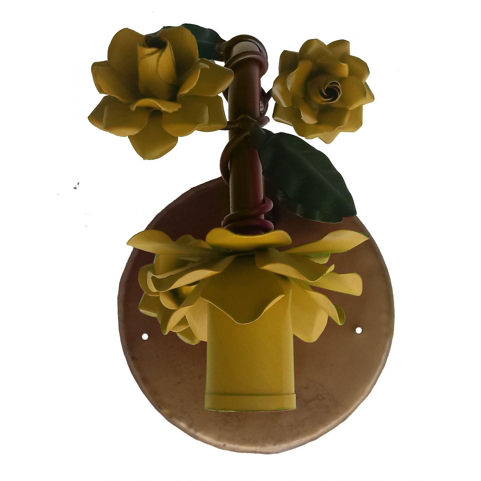 Arandela com Flores Rustica de Parede em Ferro Artesanal 01 Boca