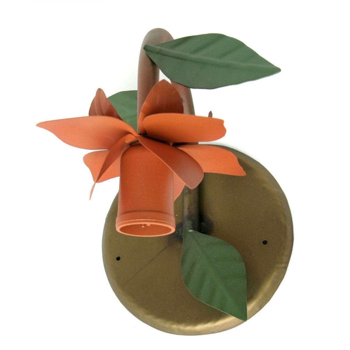 Arandela de Parede Interna Rústica De Ferro Artesanal Com Flor