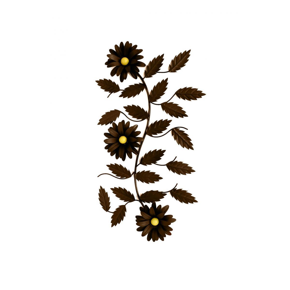 Tela Moldura De Parede Com Flores Artificiais Decoração Ferro