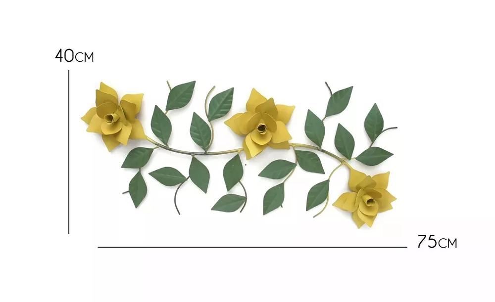 Painel De Ferro Artesanal Decorativo Com Flores Para Parede