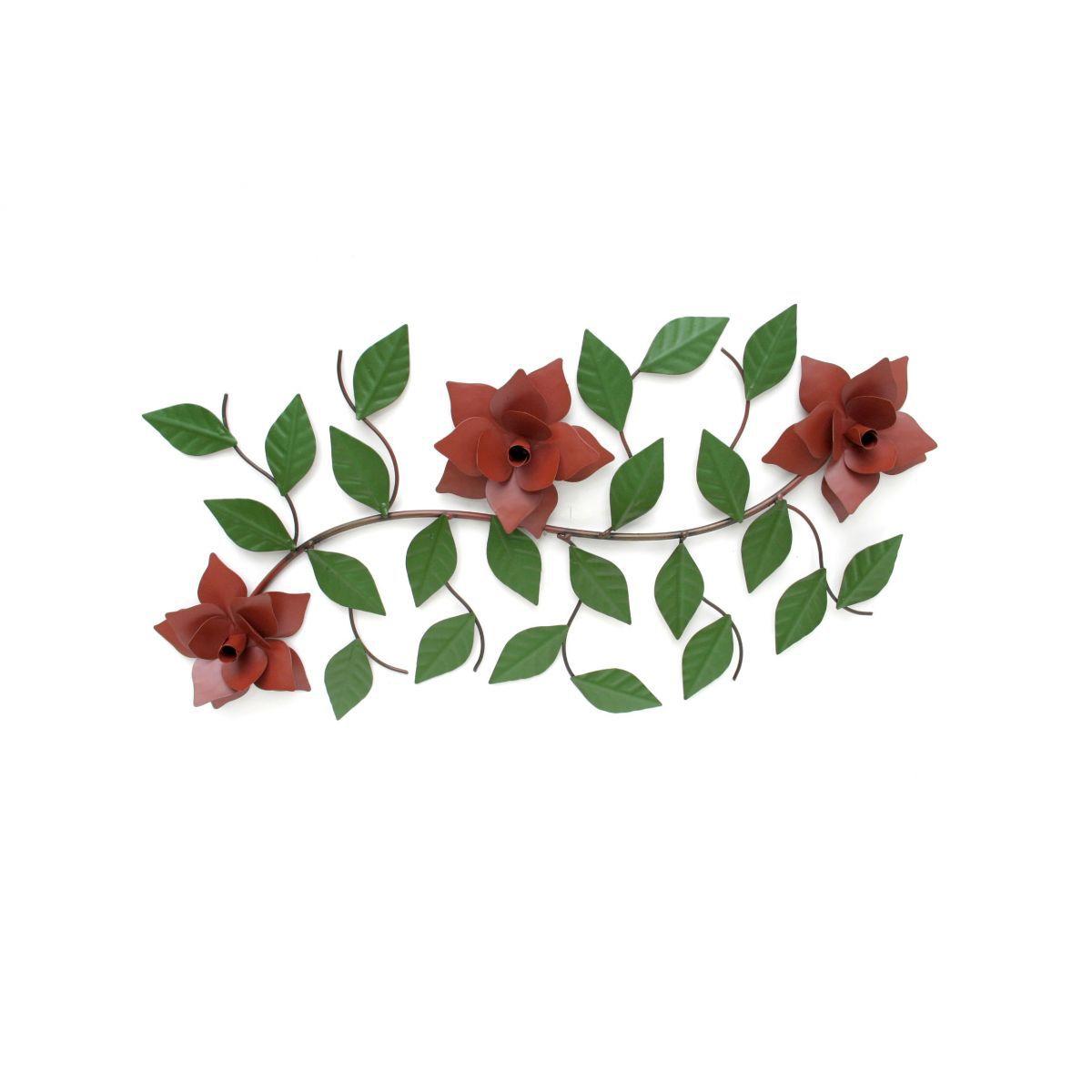 Arranjo de Parede Rústico Decorativo de Ferro e Lata Artesanal de Flor