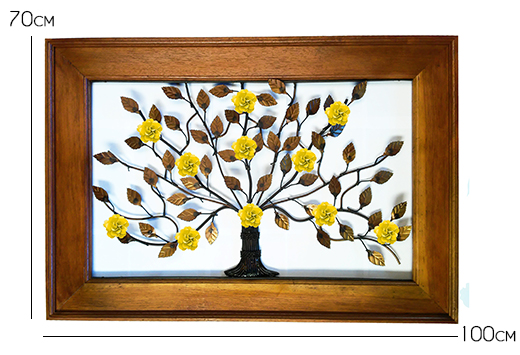 Moldura Painel de Ferro e Madeira de Demolição Artesanal de Árvore com Flores