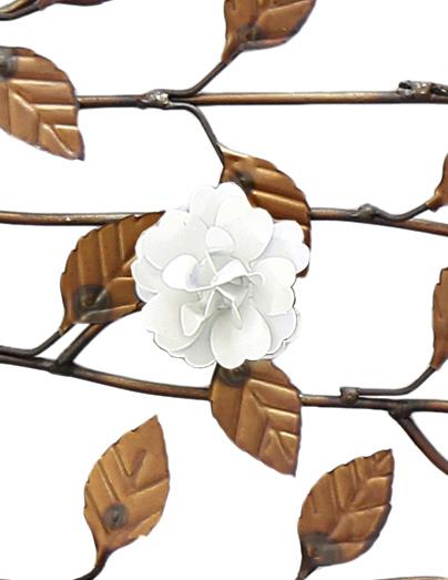 Arvore de Ferro Decorativa para Parede da Sala Artesanal com Flores
