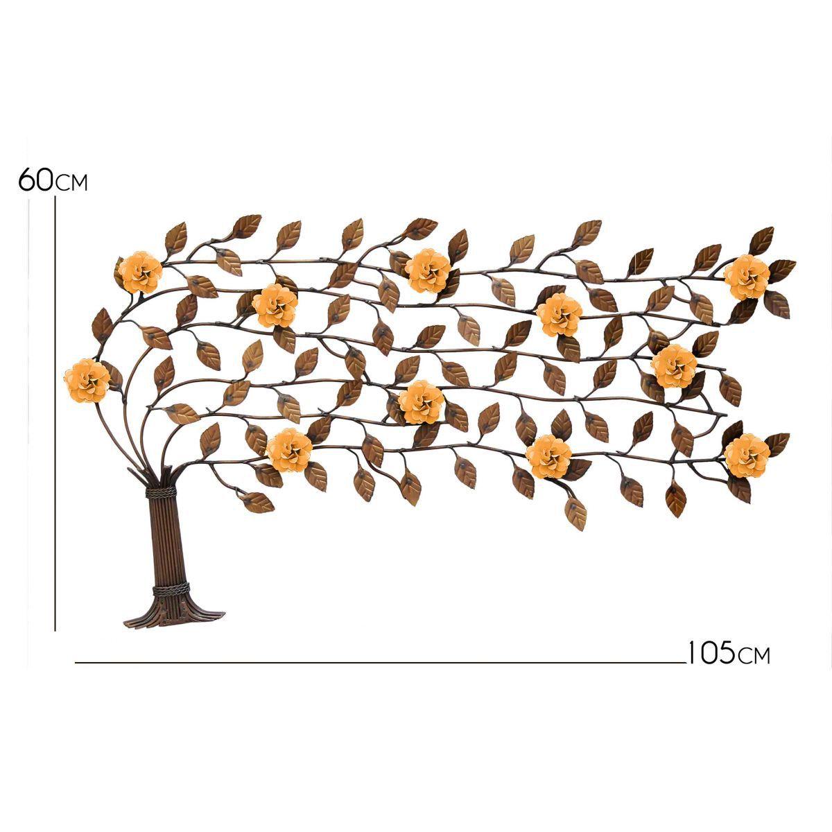 Arvore do Vento de Ferro com Flores Artesanais Rustico para Sala