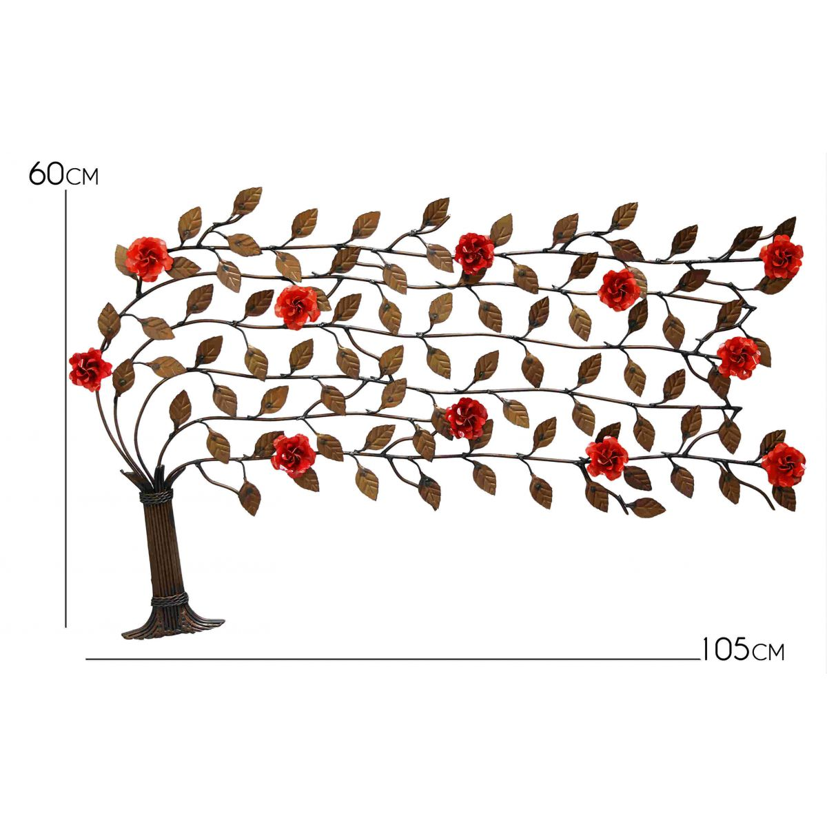 Arvore de Ferro ao Vento de Folhas  Artesanal e Flores Rustica