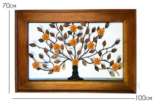 Moldura de Ferro e Madeira de Demolição com Árvore de Flores Artesanal em Ferro