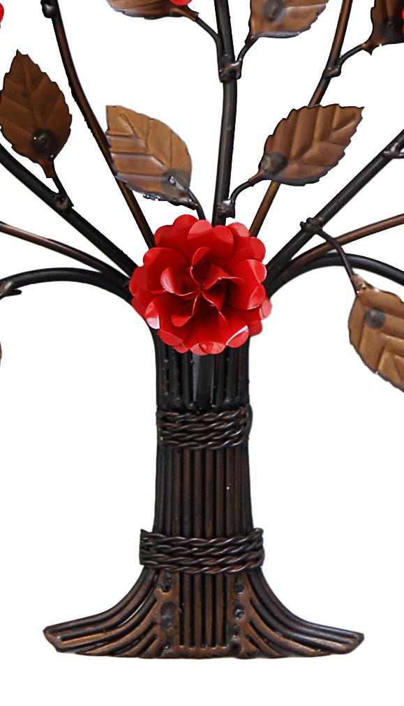 Árvore Arranjo Arabesco de Ferro Rustico para Parede com Flores Artesanais