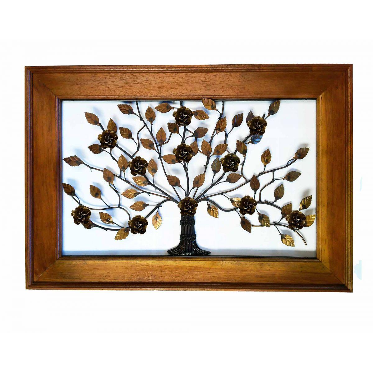 Moldura Artesanal Quadro Ferro Rustico Parede de Casa Árvore com Flores