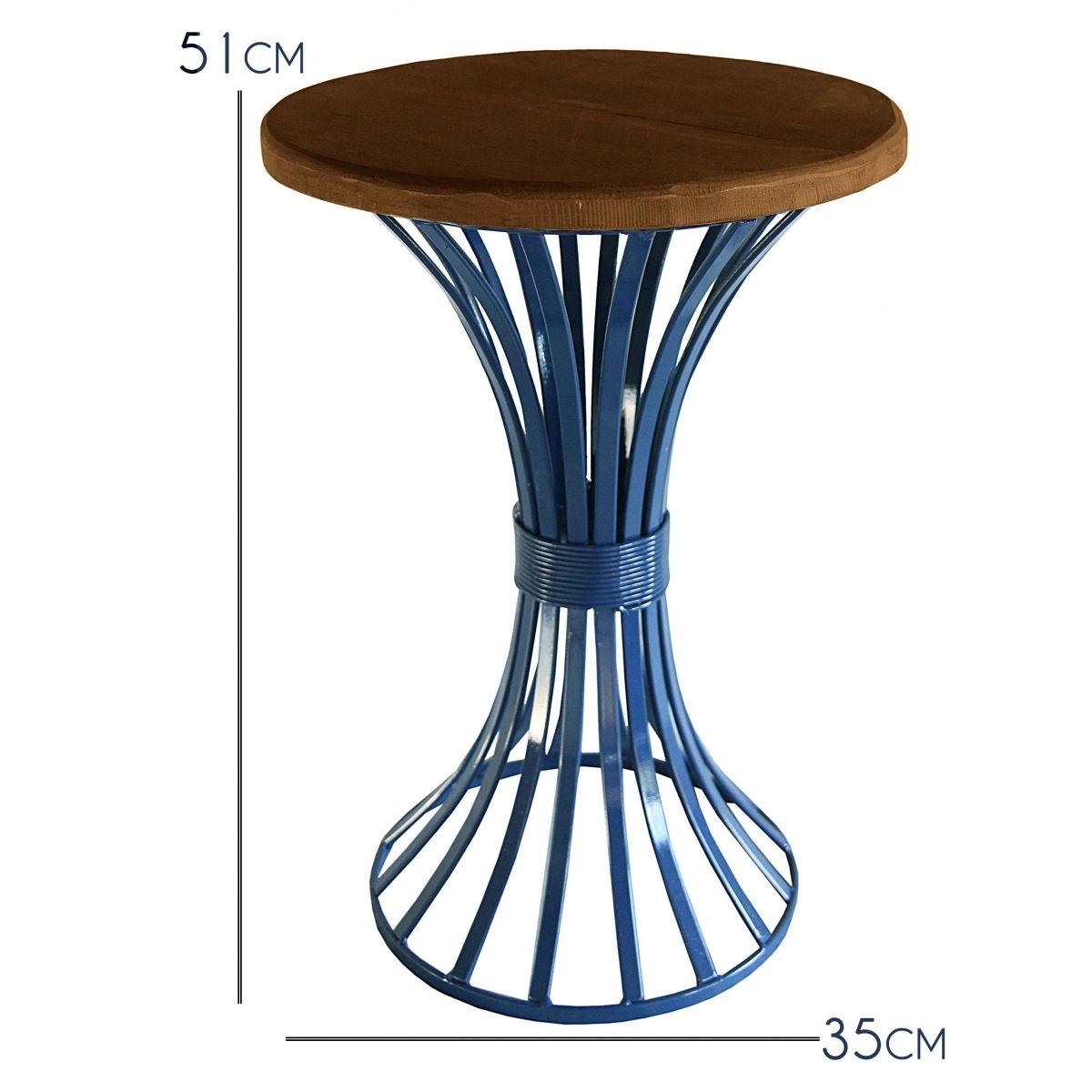 Mesa Lateral de Canto para Sala de Jantar Artesanal Rustica Decorativa de Ferro