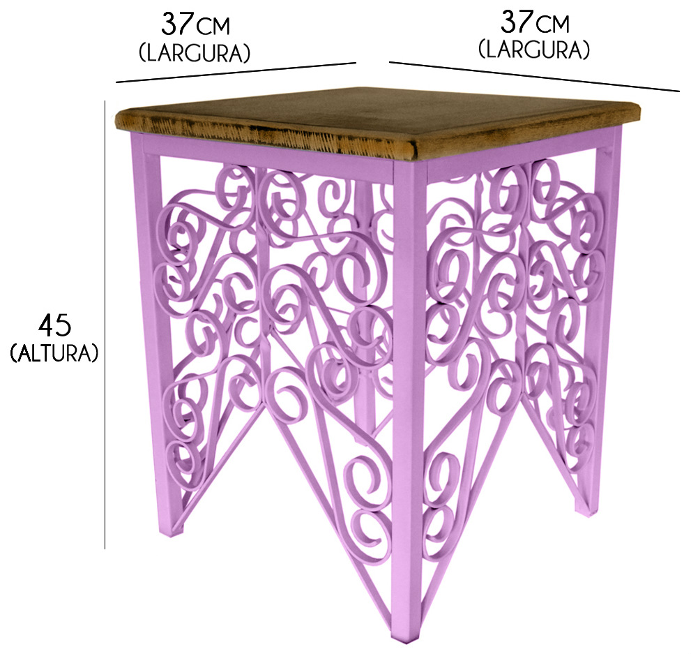 Mesa de Canto para Sala de Ferro Artesanal Rustica Decorativa com Madeira