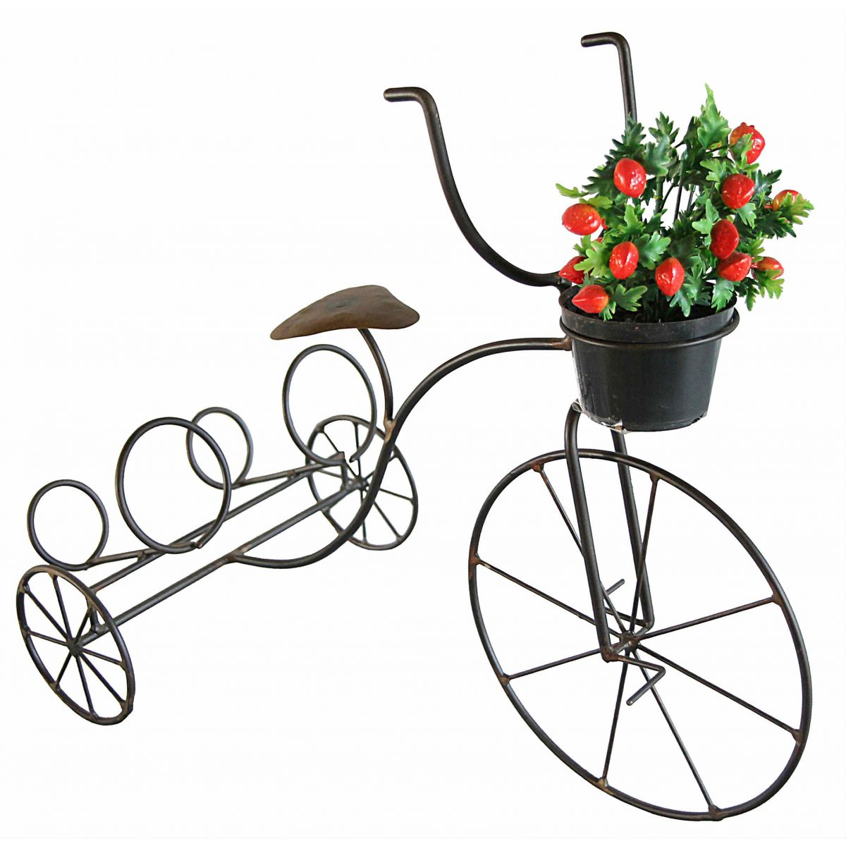 Bicicleta Porta Vasos Duplo para Vasos de Flor Decoração de Jardim