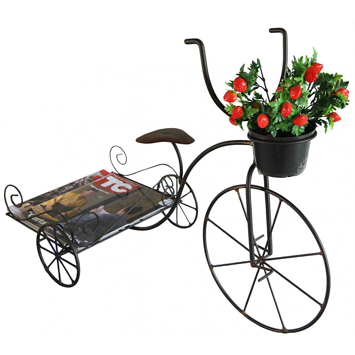 Suporte para Vaso de Flor e Revistas Artesanal Decorativo em Ferro