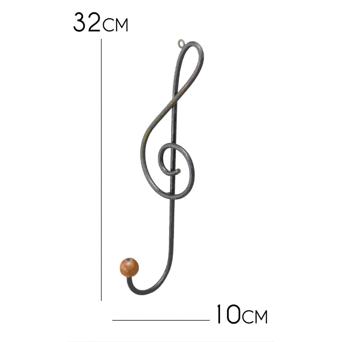 Cabide Artesanal de Ferro com Pendurador de Roupas e Bolsas 01 Gancho Verniz Musica