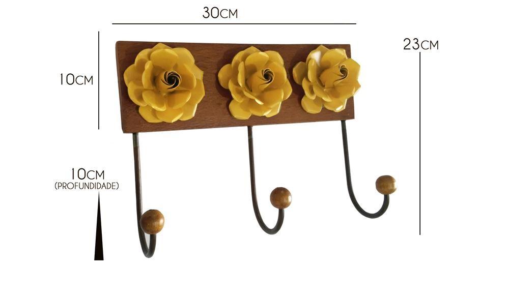 Cabide com Flor para Parede de Madeira Pendurador de Roupas e Toalhas