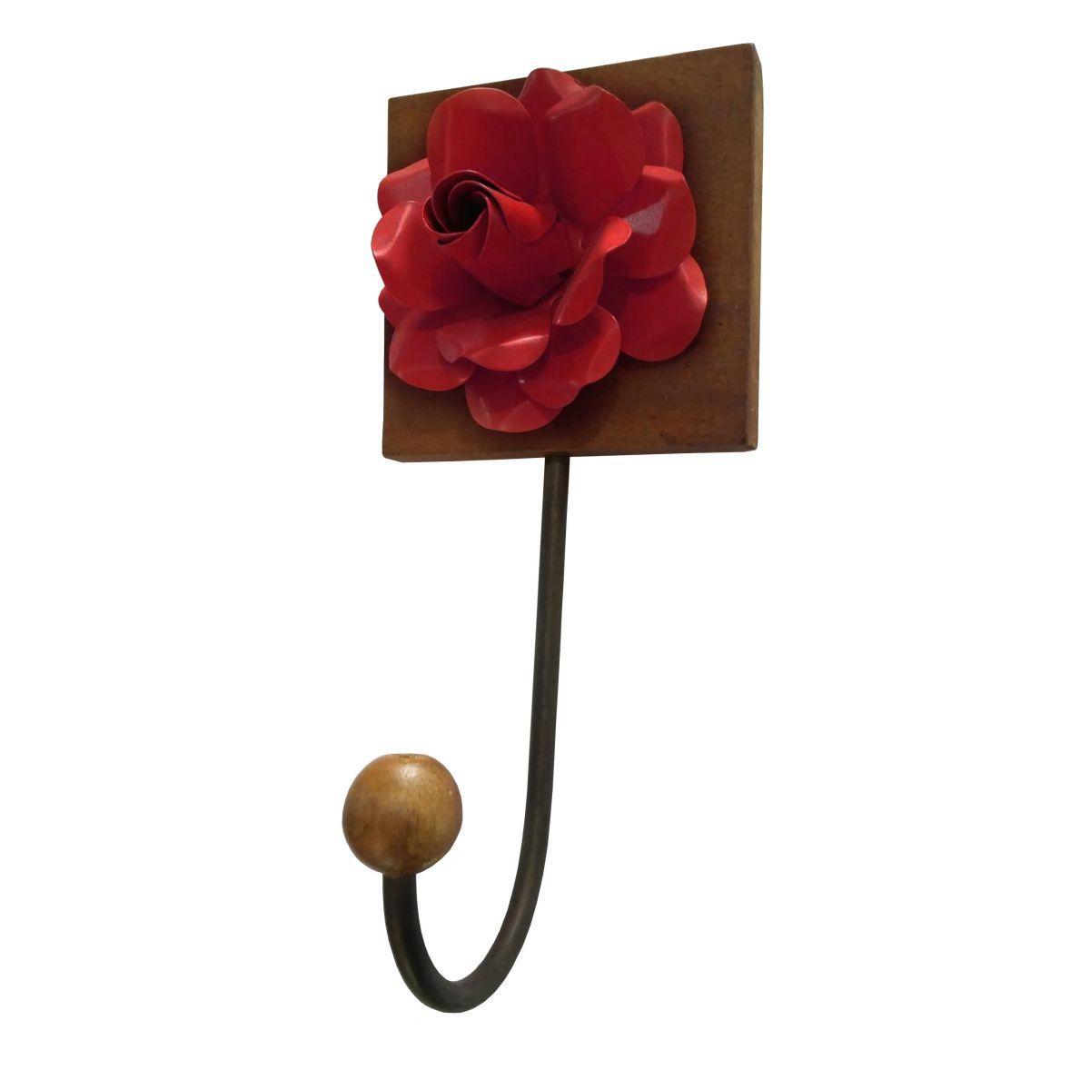 Cabide de Ferro Artesanal com Flores Rusticas para Parede com Ganchos