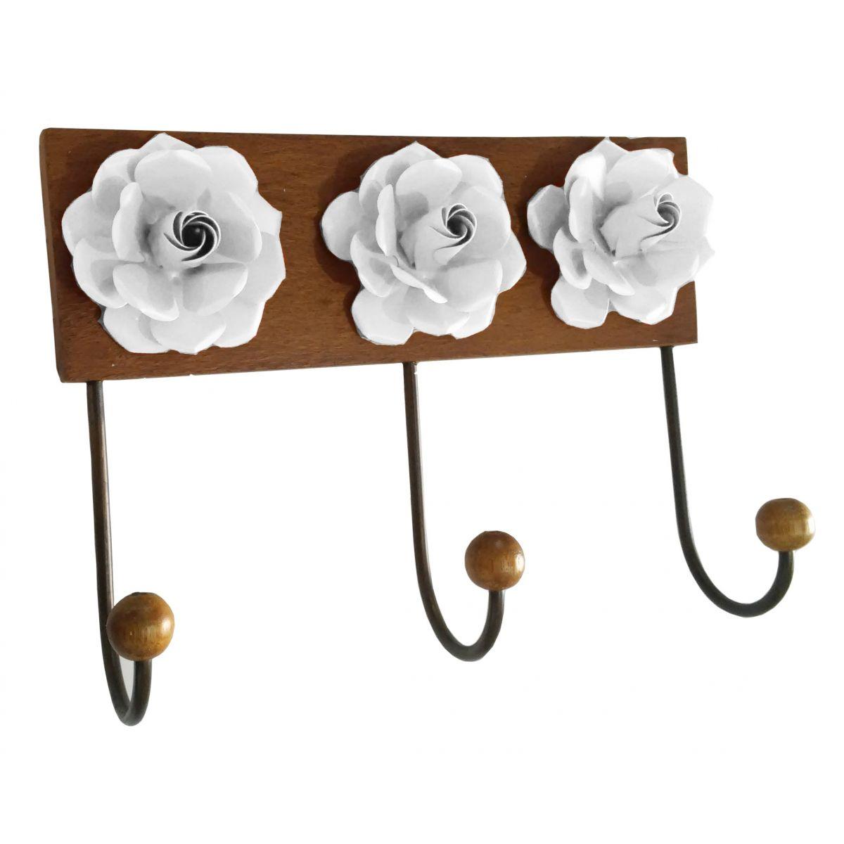 Cabideiro Artesanal de Ferro e Madeira com Flores Rústico de Parede