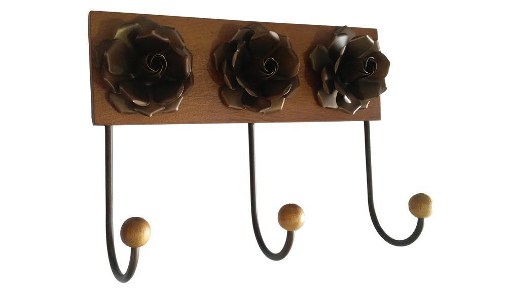 Cabideiro de Flor de Ferro Decorativo com Ganchos de Ferro para Cozinha