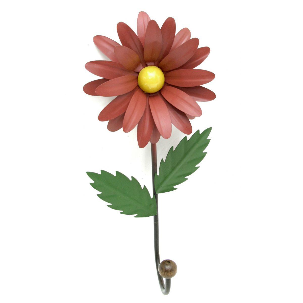 Cabide de Ferro Porta Toalha de Banheiro Rustico com Flor para Parede