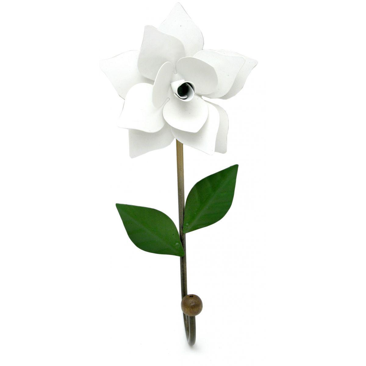Cabideiro Decorativo para Quarto e Banheiro Artesanal Rústico com Flor