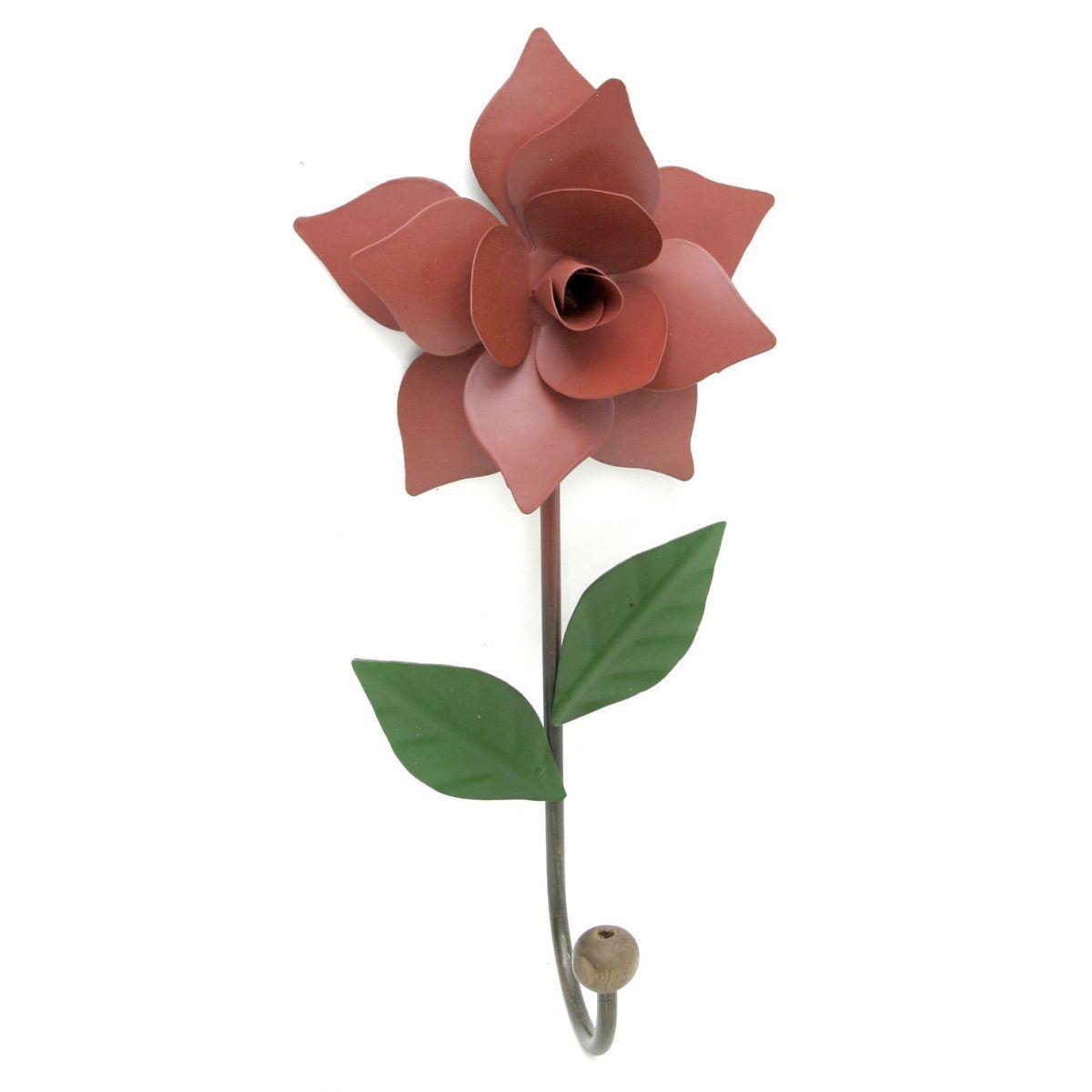 Cabideiro Rústico Artesanal de Parede em Ferro com Rosa de Lata